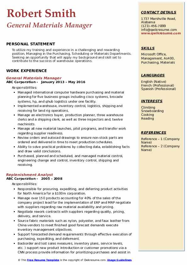 General Materials Manager Resume Example