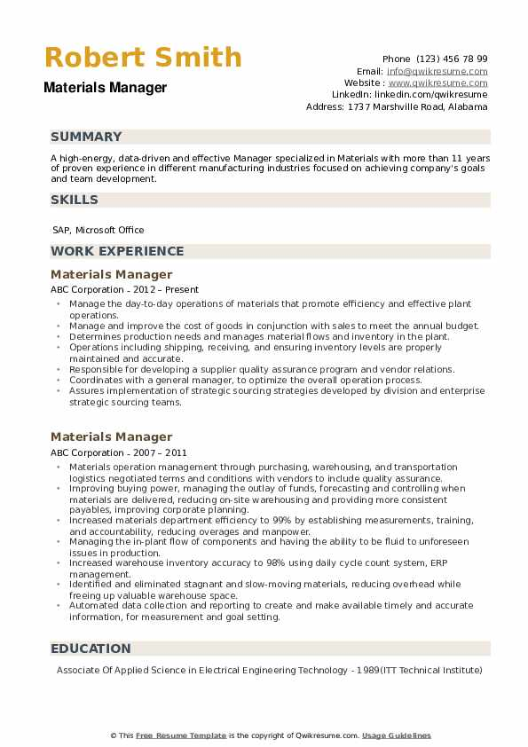 Materials Manager Resume example