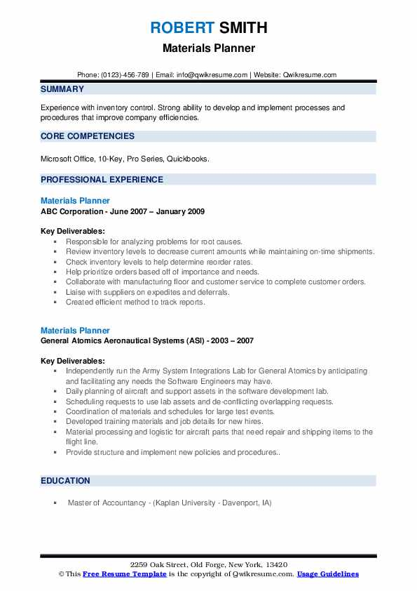 Materials Planner Resume example