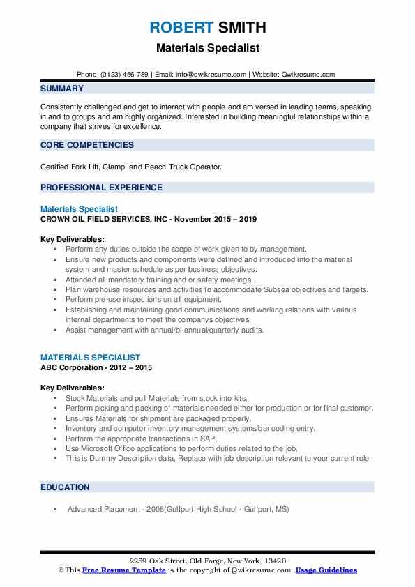 Materials Specialist Resume example