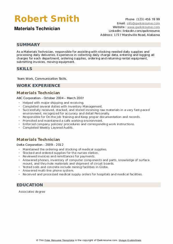 Materials Technician Resume example
