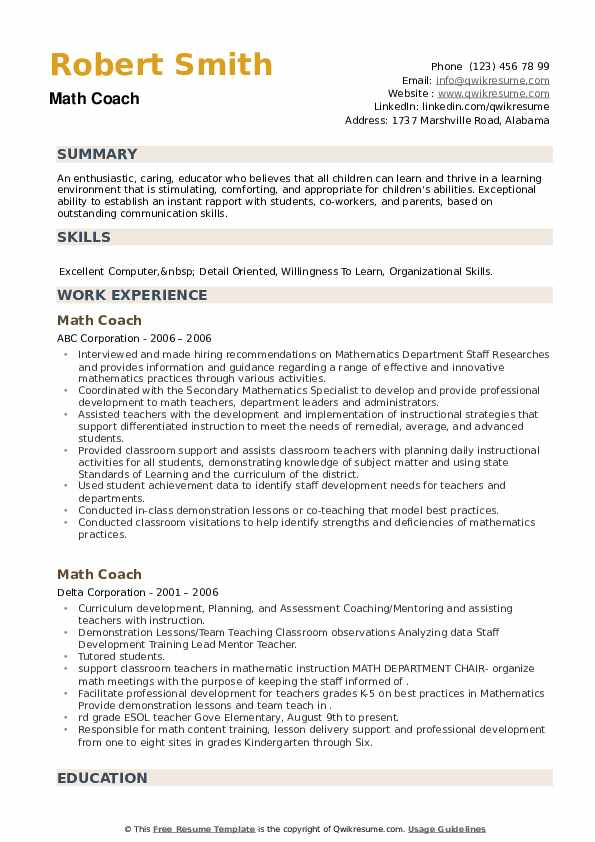 Math Coach Resume example