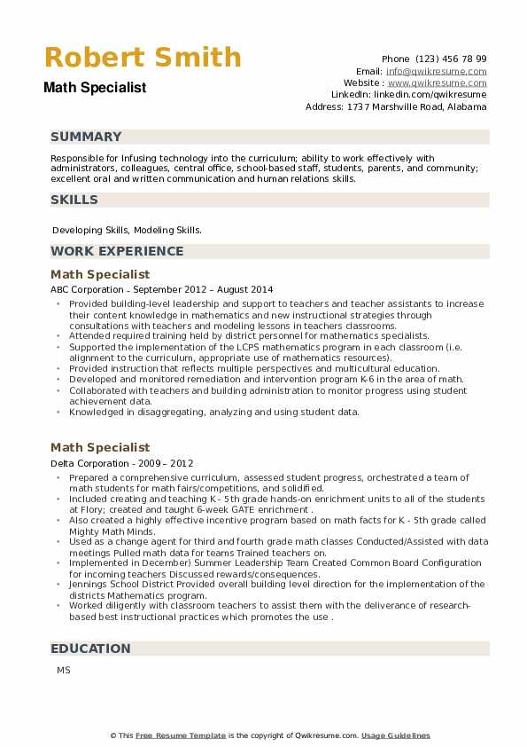 Math Specialist Resume example