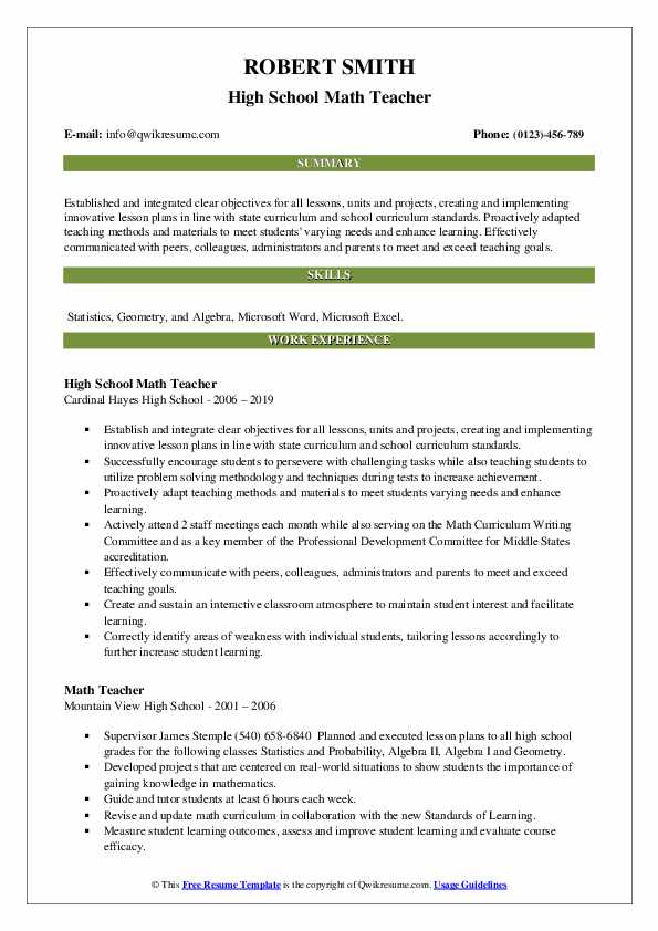 Math Teacher Resume Samples | QwikResume