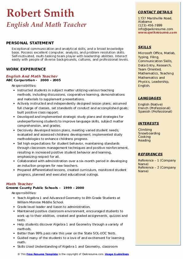 English And Math Teacher Resume Format