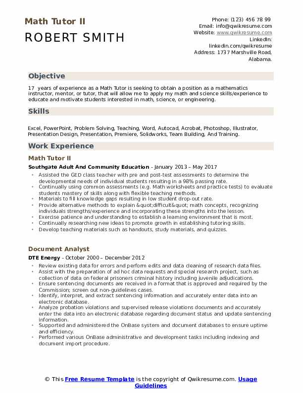 Math Tutor II Resume Model