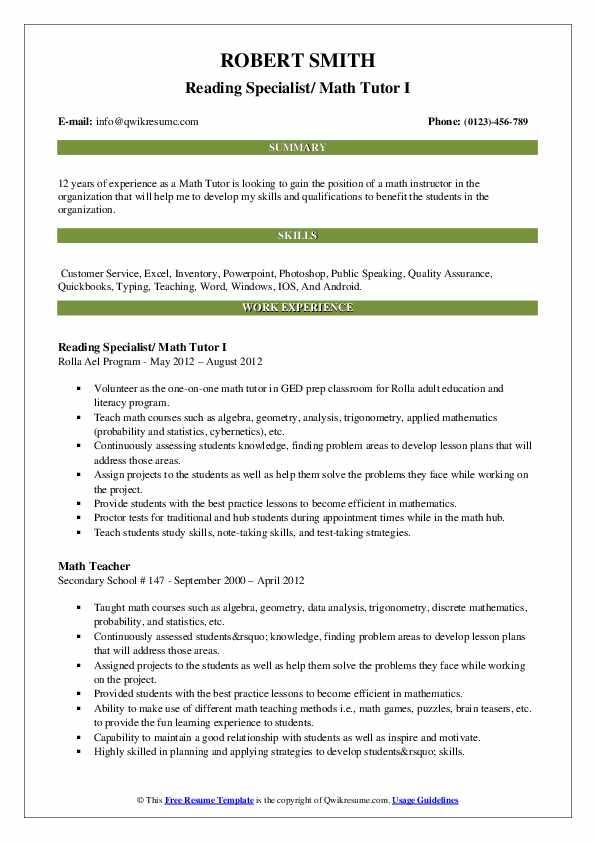 Reading Specialist/ Math Tutor I Resume Model