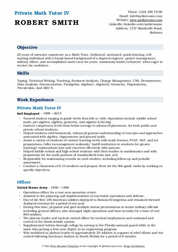 Private Math Tutor IV Resume Template