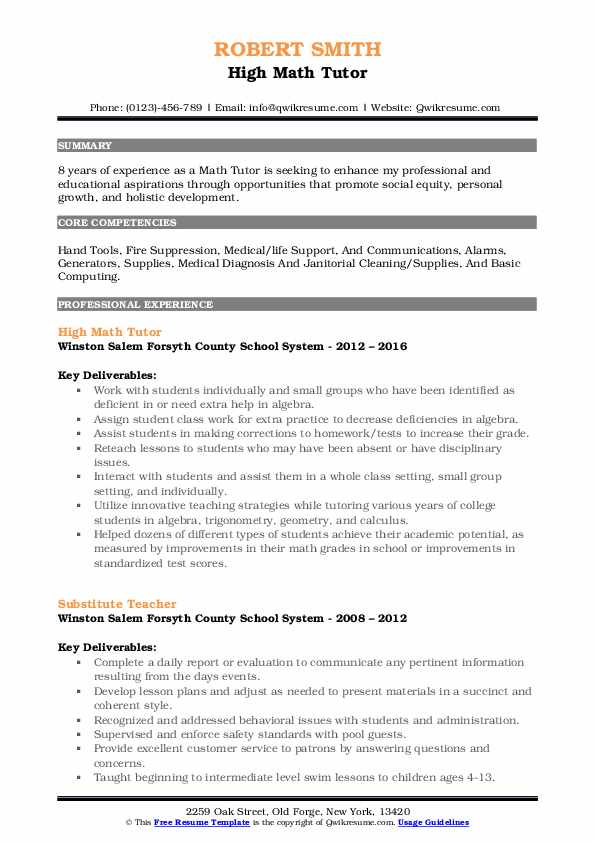 High Math Tutor Resume Model