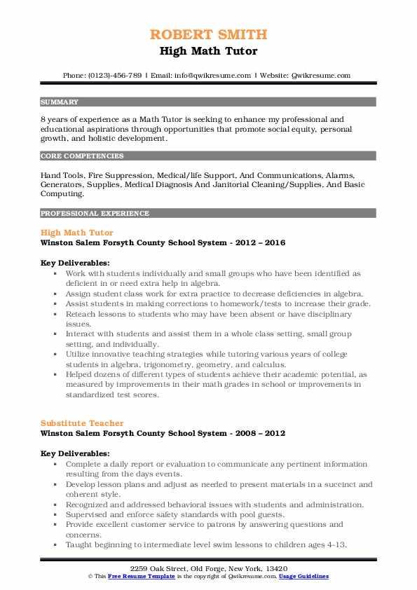 High Math Tutor Resume Format