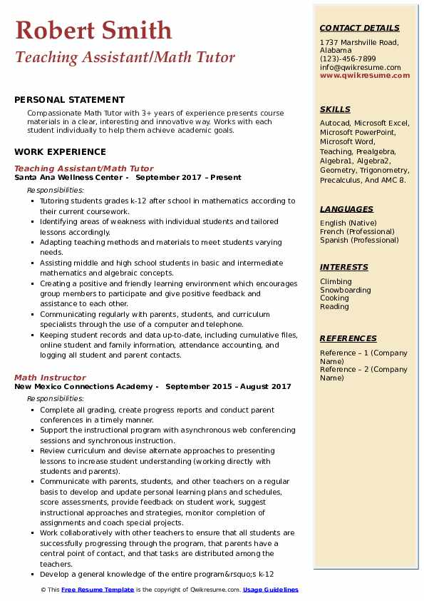 Teaching Assistant/Math Tutor Resume Format