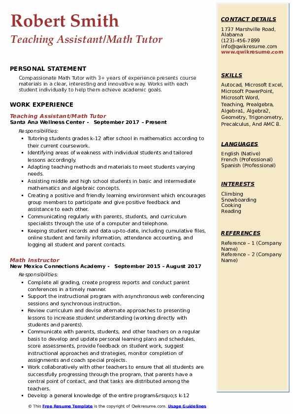 Teaching Assistant/Math Tutor Resume Model