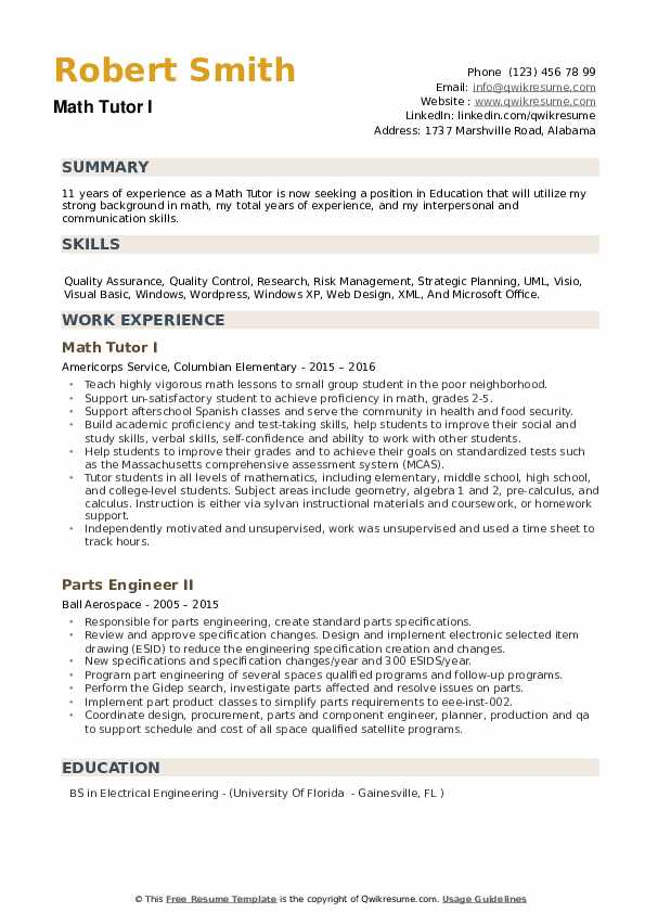 Math Tutor I Resume Template
