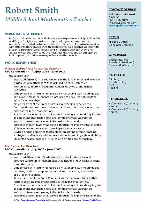 mathematics teacher resume samples  qwikresume
