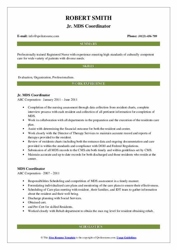 Jr. MDS Coordinator Resume Format