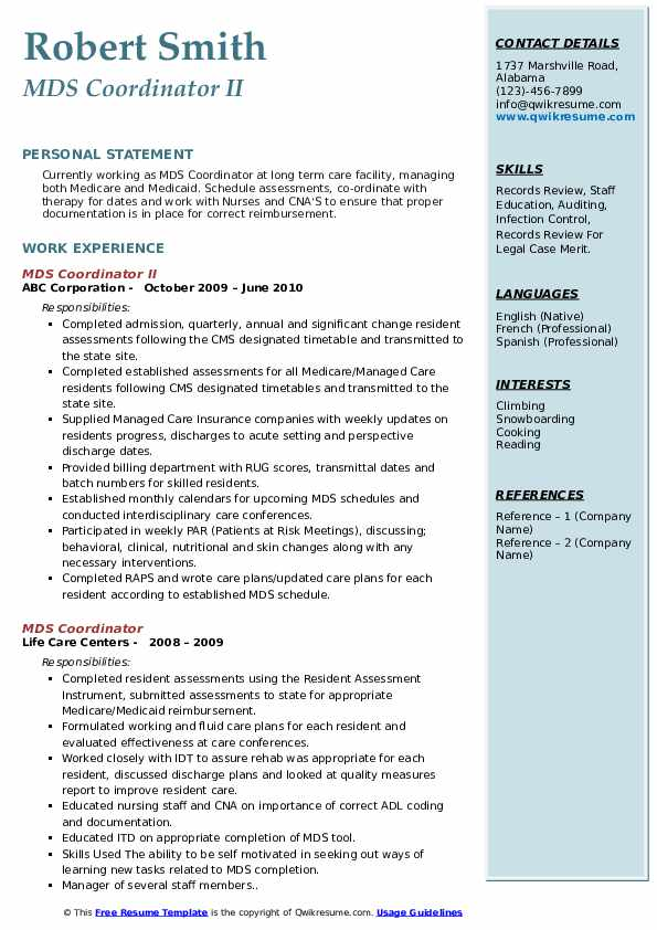 MDS Coordinator II Resume Template
