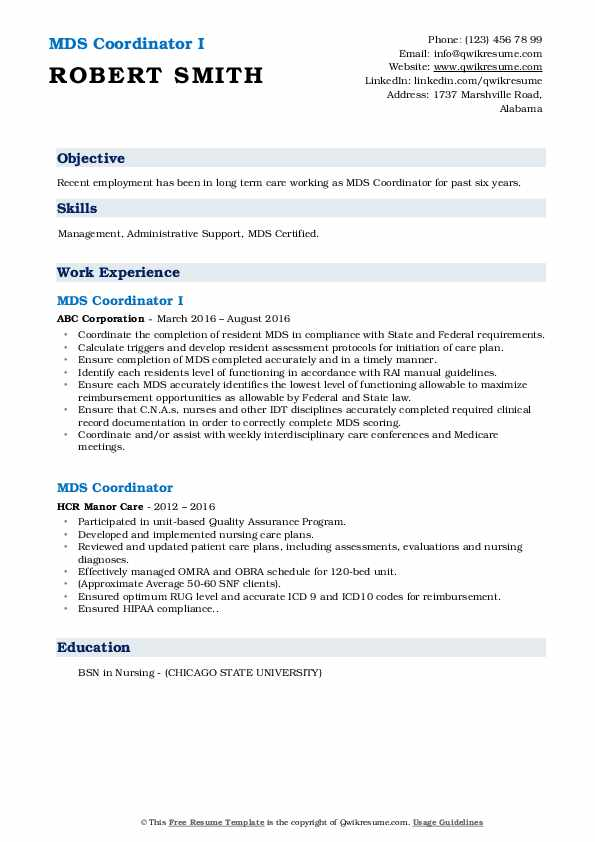 MDS Coordinator I Resume Model