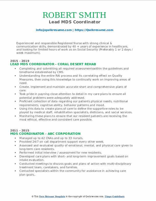 Lead MDS Coordinator Resume Format