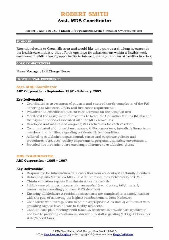 Asst. MDS Coordinator Resume Model
