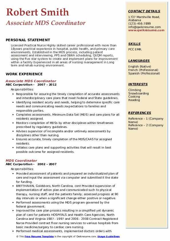 Associate MDS Coordinator Resume Example