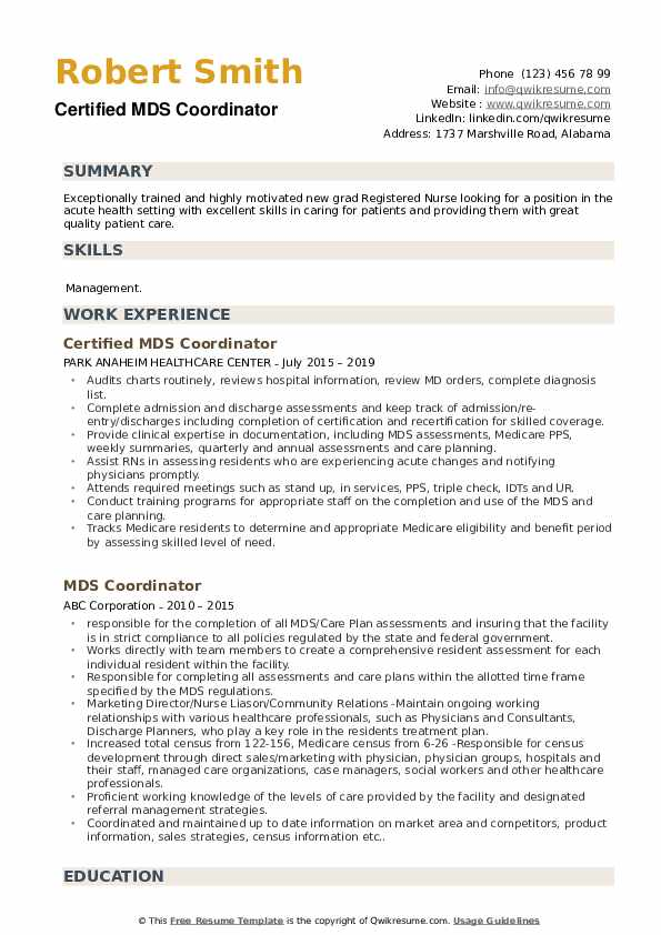 Certified MDS Coordinator Resume Format