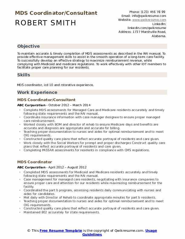 MDS Coordinator/Consultant Resume Sample