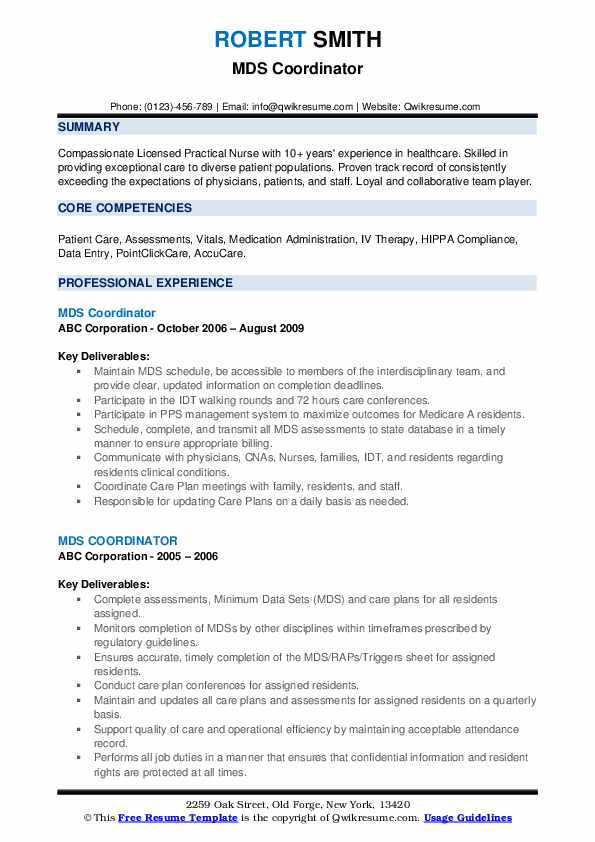 Mds Coordinator Resume example
