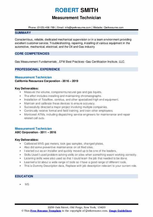 Measurement Technician Resume example