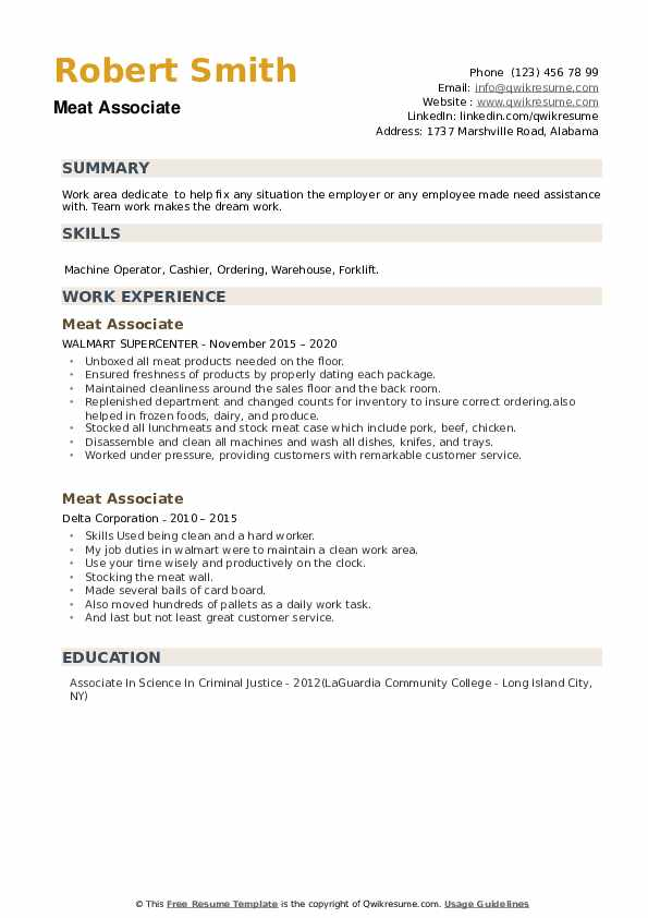 Meat Associate Resume example