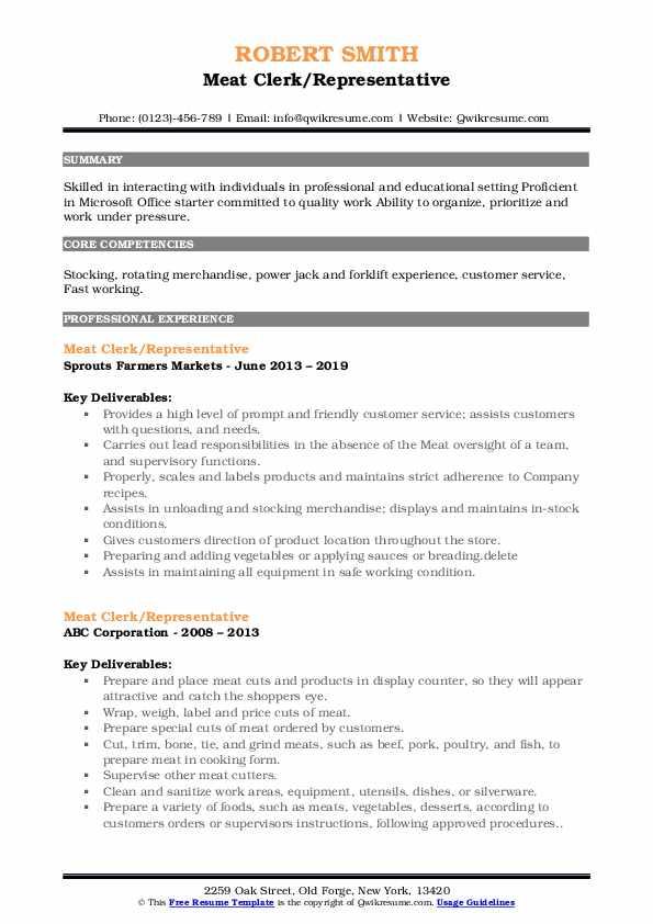 Meat Clerk Resume Samples | QwikResume