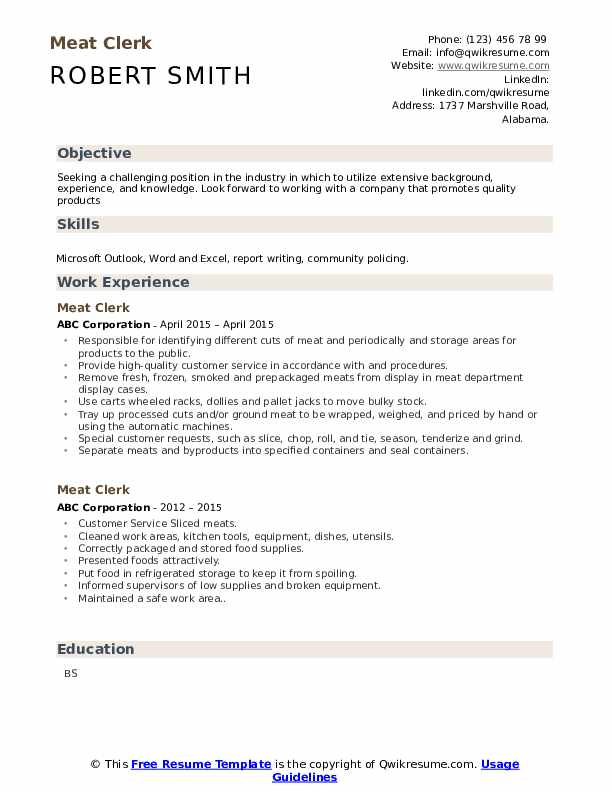 Meat Clerk Resume example