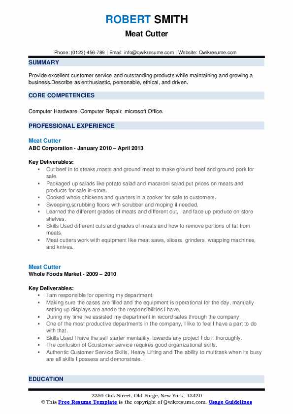 Meat Cutter Resume example