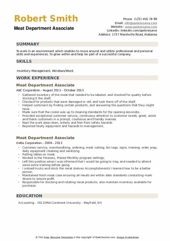 Meat Department Associate Resume example