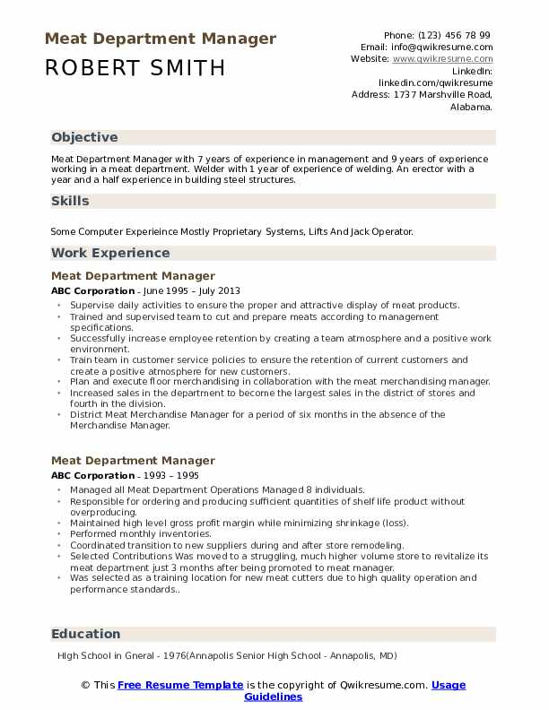 Meat Department Manager Resume Template