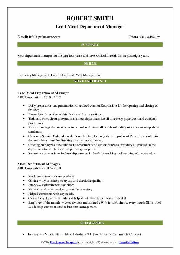 Lead Meat Department Manager Resume Template