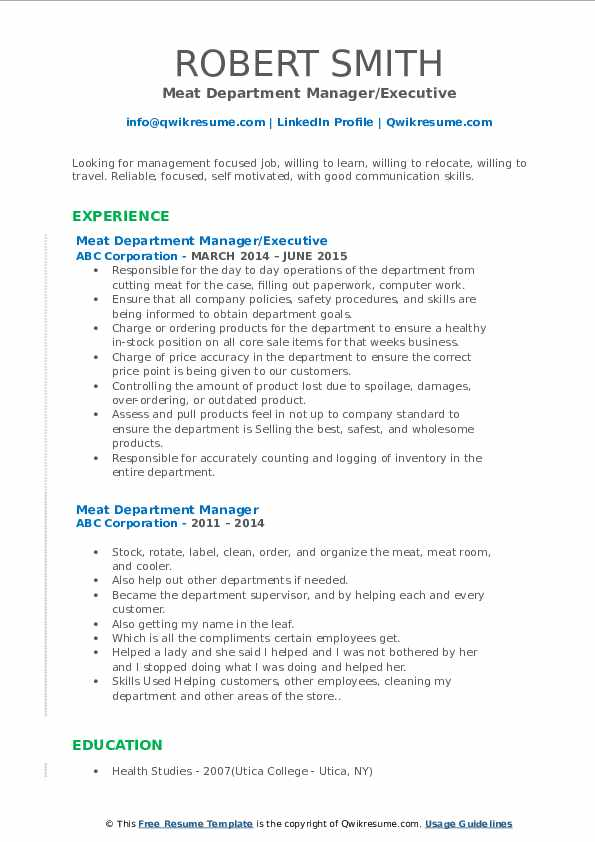Meat Department Manager/Executive Resume Model