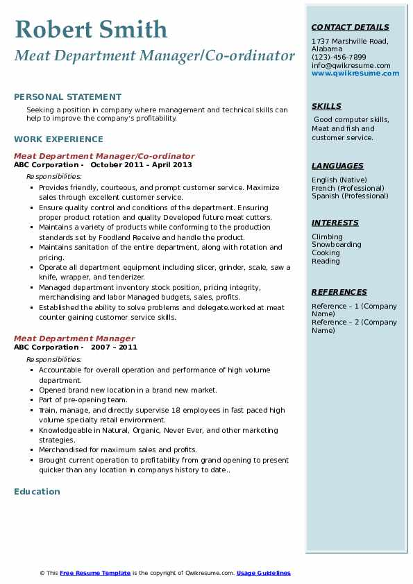 Meat Department Manager/Co-ordinator Resume Format