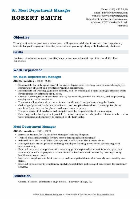 Sr. Meat Department Manager Resume Template