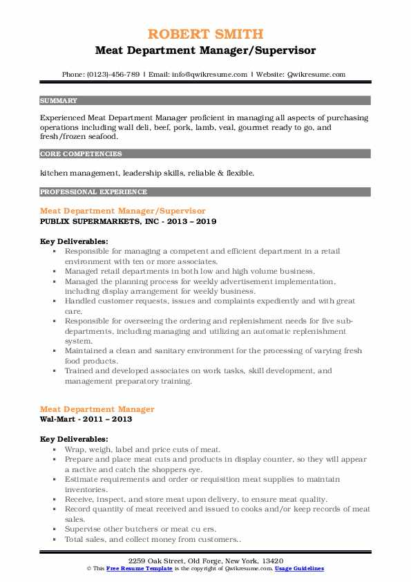 Meat Department Manager/Supervisor Resume Template