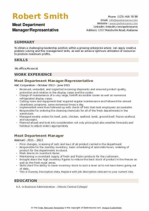 Meat Department Manager/Representative Resume Model