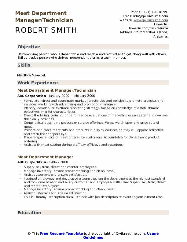 Meat Department Manager/Technician Resume Template