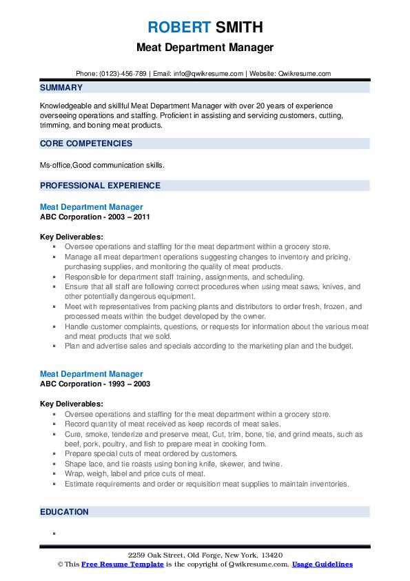 Meat Department Manager Resume example