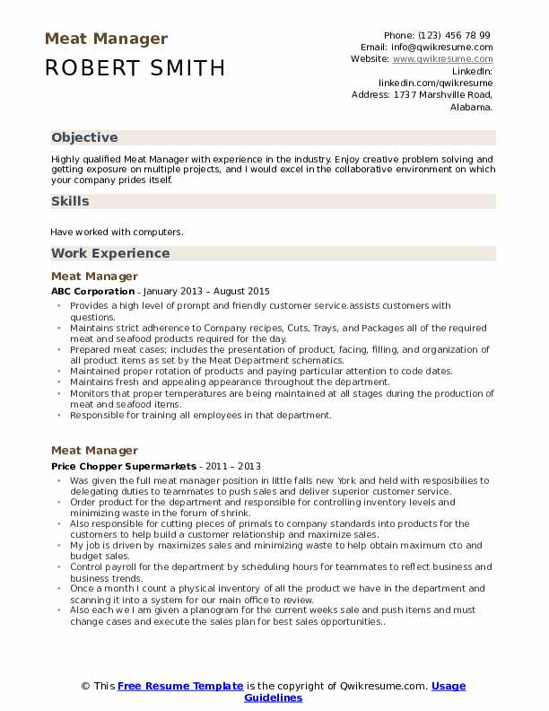 Meat Manager Resume Template