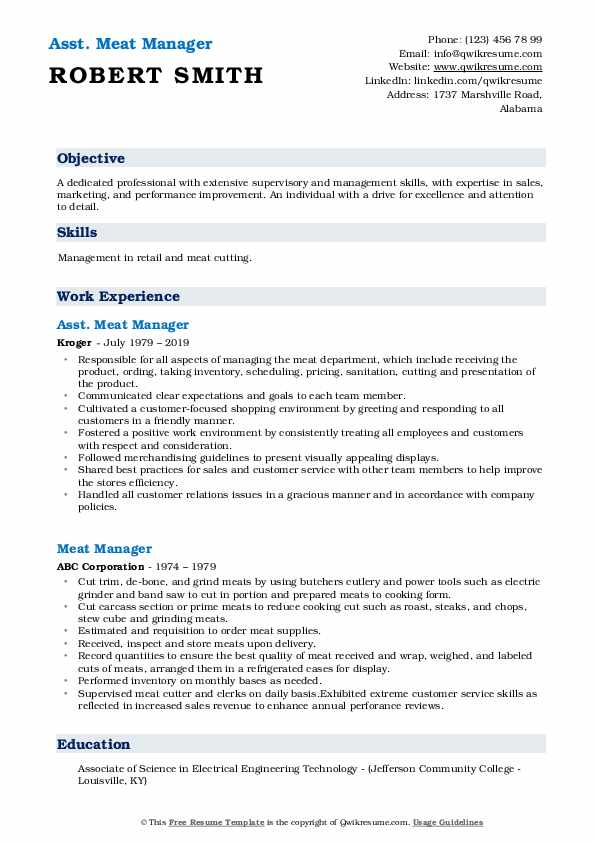 Asst. Meat Manager Resume Template