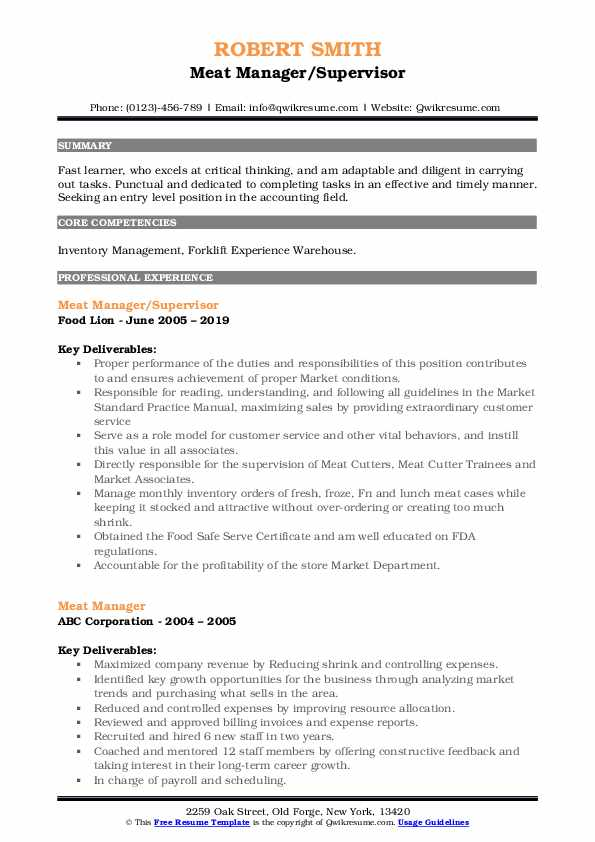 Meat Manager/Supervisor Resume Template