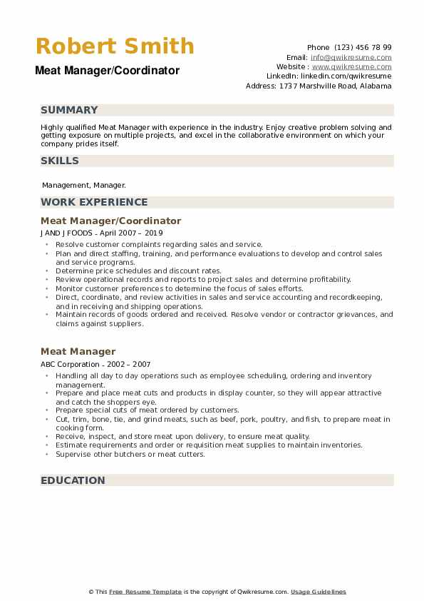 Meat Manager/Coordinator Resume Model