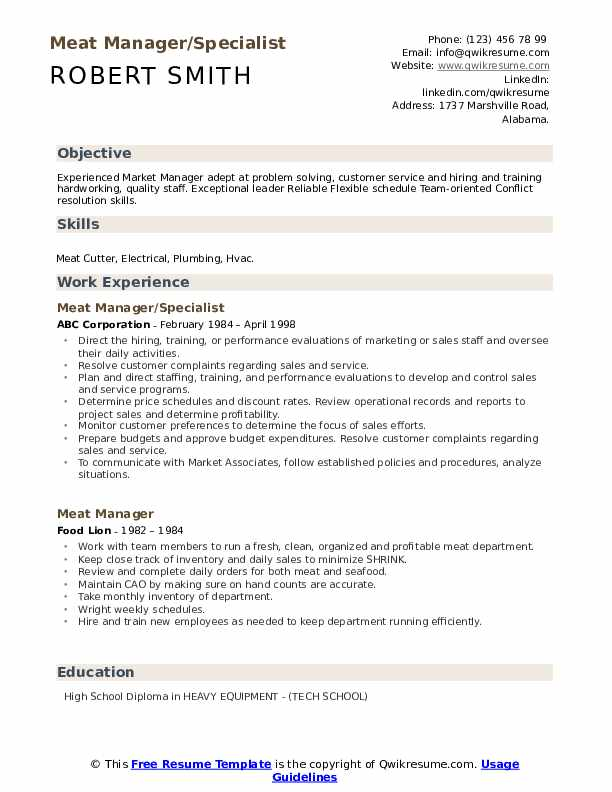 Meat Manager/Specialist Resume Sample