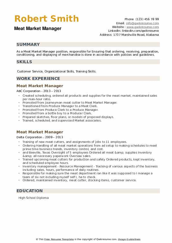 Meat Market Manager Resume example