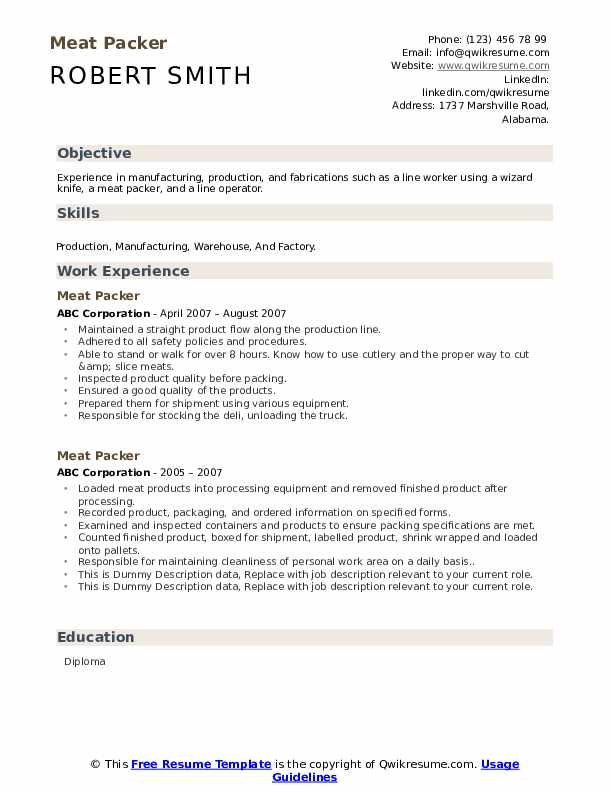 Meat Packer Resume example