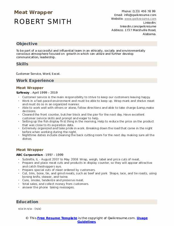 Meat Wrapper Resume Example
